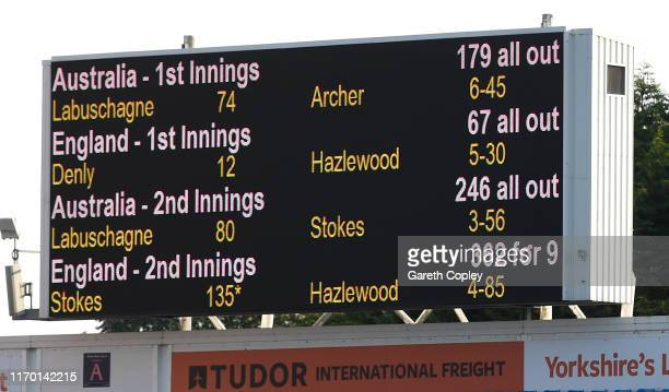 The completed scorecard is shown on the big screen after day four of the 3rd Ashes Test Match between England and Australia at Headingley on August...