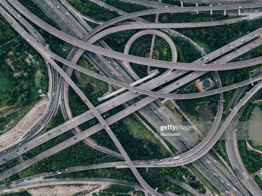 the complex and majestic city elevated roads in Shanghai : Stock Photo