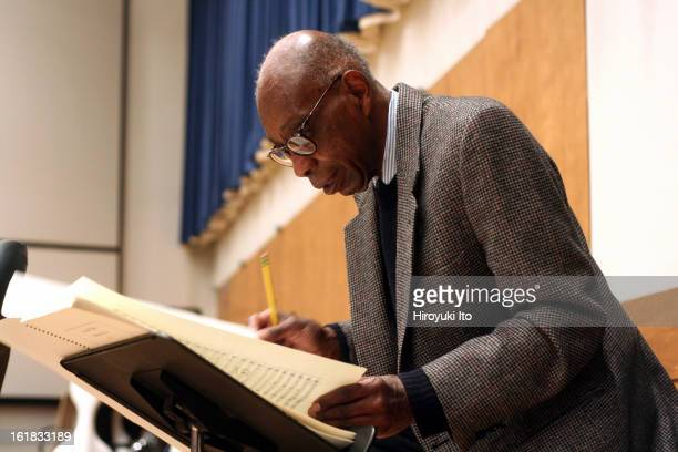 The composer George Walker at rehearsal with the Juilliard Orchestra on Thursday morning, December 6, 2007.