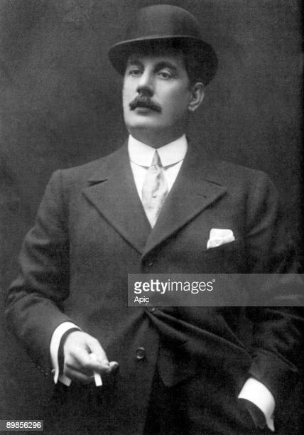 The composer Giacomo Puccini in 1910 photographed at the presentation of La Fanciulla del West during his 1910 visit to New York City for the world...