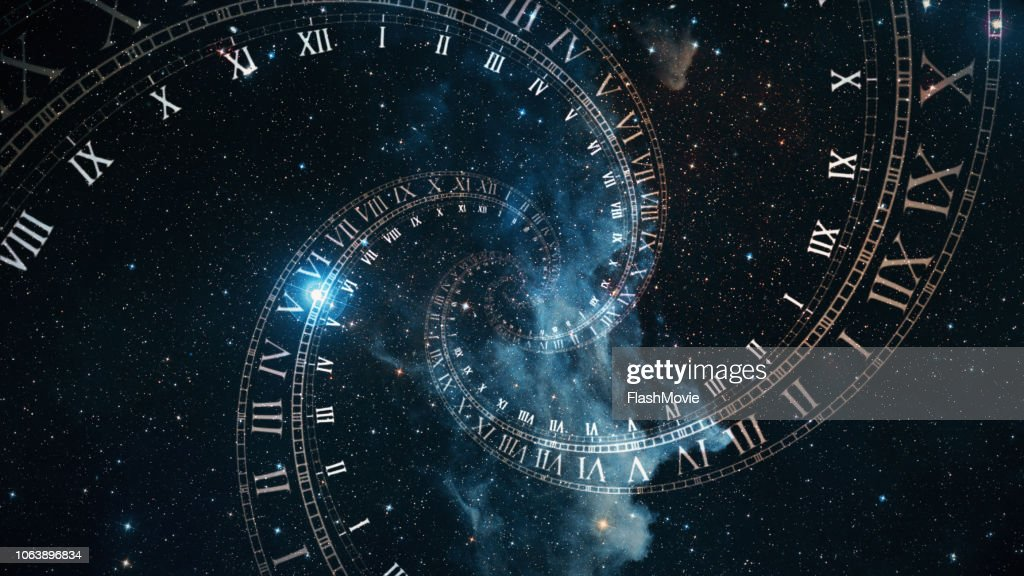 The composition of the space of time, the flight in space in a spiral of Roman clocks 3d illustration : Stock Photo