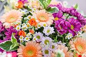 bouquet flowers with gerberas chrysanthemums