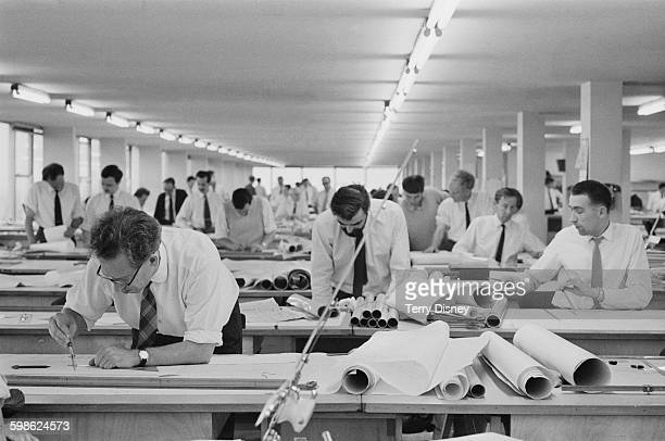 The Comprehensive Designers International Ltd offices at Southall, London, UK, 12th October 1967. Designers, engineers and draughtsmen working on the...