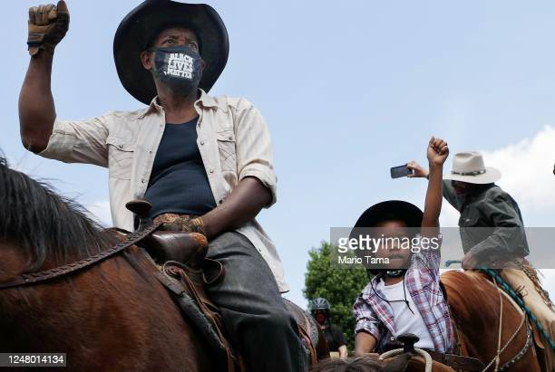 The Compton Cowboys hold a 'peace ride' for George Floyd on June 7, 2020 in Compton, California. This is the 13th day of protests since George Floyd...