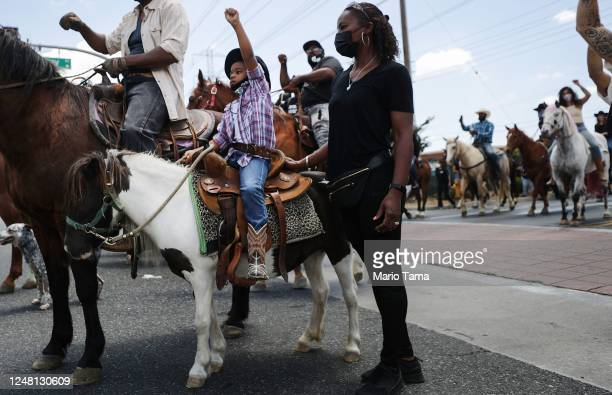 The Compton Cowboys hold a 'peace ride' for George Floyd on June 7 2020 in Compton California This is the 13th day of protests since George Floyd...