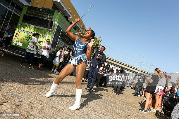 The Compton High School Band performs at the Homeboy Industries EveryAngelenoCounts 5K Run And Community Art Walk at Homeboy Industries on October 18...
