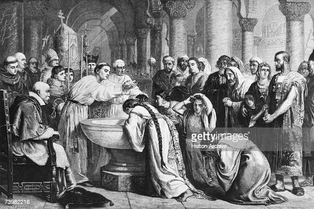 The compulsory baptism of the Moors by Cardinal Ximenes after the Christian conquest of Granada 1500 Engraving by W B Gardner from the picture by...