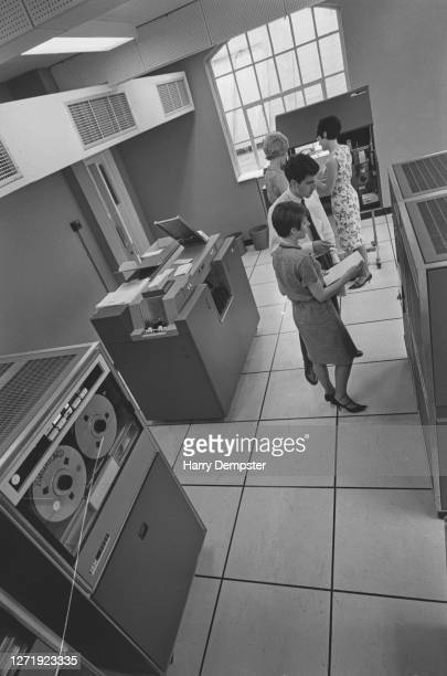 The computer room where credit accounts are handled for the new Barclays bank Barclaycard UK June 1966