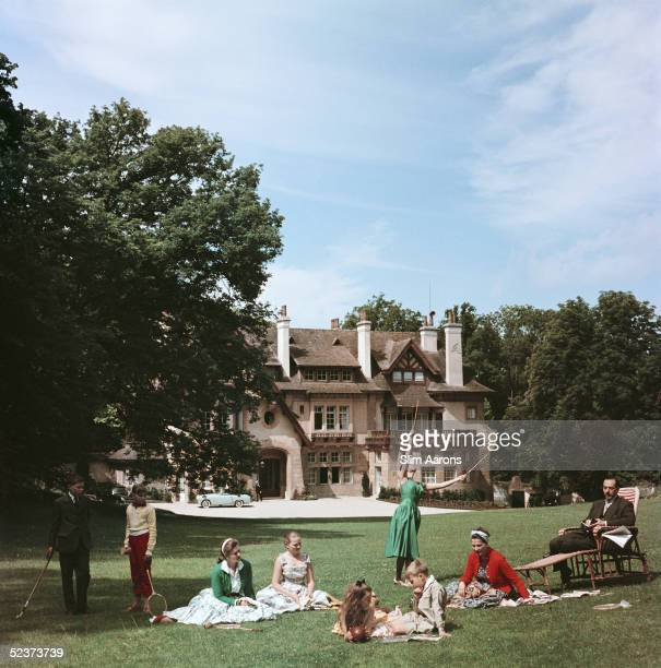 The Comte de Paris pretender to the French throne with his wife the Comtesse and their children at their home the Manoir du Coeur Volant Louveciennes...