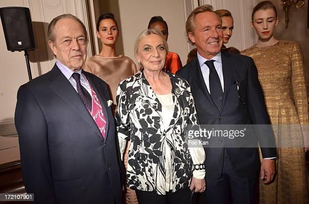 The Comte de Paris the Comtesse de ParisÊand Maison Natan designer Edouard Vermeulen attend the the Maison Natan show during Paris Fashion Week Haute...