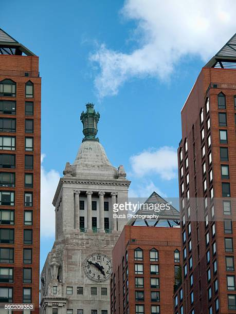 the con edison clock tower, union square, nyc - clock tower stock pictures, royalty-free photos & images