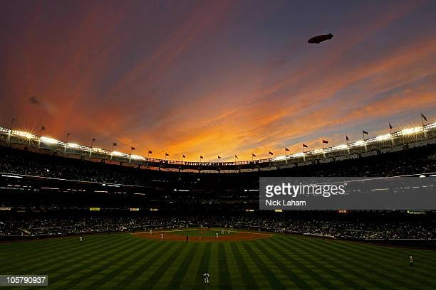 The Conan blimp flies over Yankee stadium as the New York Yankees play against the Texas Rangers in Game Five of the ALCS during the 2010 MLB...