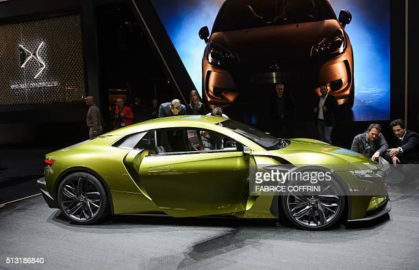 The DS Concept car ETense is displayed at the stand of French carmaker during the press day of the Geneva Motor Show on March 1 2016 in Geneva / AFP...