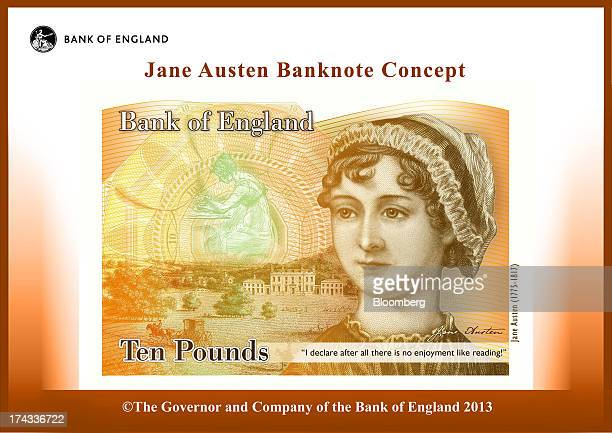 The concept design for the new Bank of England ten pound banknote featuring author Jane Austen and to be known as the 'Austen note' is seen in this...