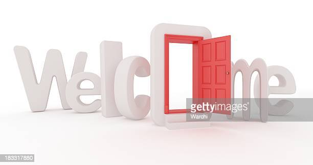 The concept of welcome with a door in the O