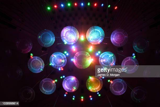 The Concert Hall lighting rig shines colourful lighting down onto the stage at the Sydney Opera House on September 24 2018 in Sydney Australia The...