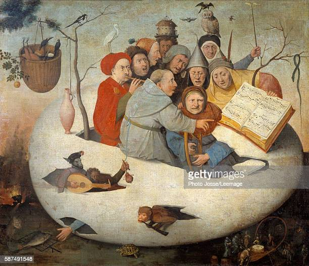 The Concert in the Egg Satire of alchemy symbolized by the philosophical egg Painting after Jheronimus Van Aeken called Hieronymus Bosch 15th century...