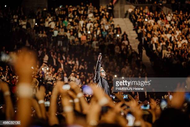 the concert of the group U2 Bono is photographed for Paris Match at Bercy on november 10 2015 in Paris France