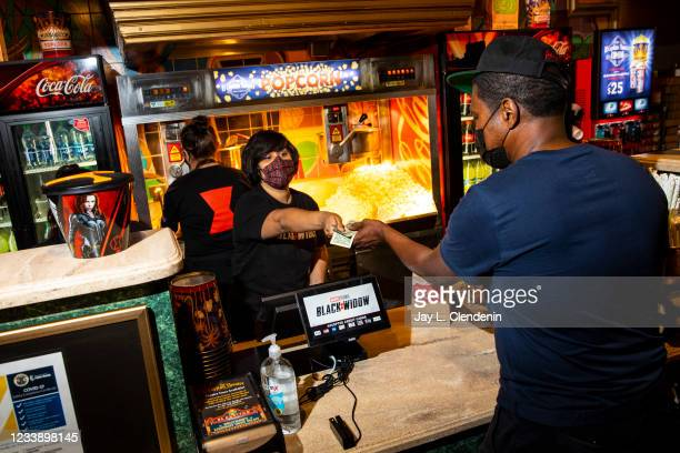 The concessions stand inside El Capitan Theatre, on Hollywood Blvd, in the heart of Hollywood, CA, where Marvel Studios Black Widow, is showing,...