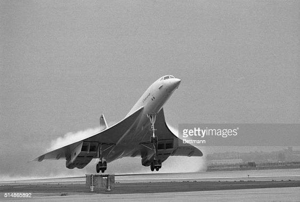 The Concorde supersonic transport lifts off the runway at JFK International Airport. Its first test flights stayed well below the threshold of...