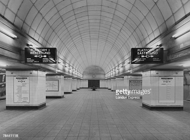 The concourse at Gants Hill London Underground Station on the Central Line, designed by architect Charles Holden, circa 1947.
