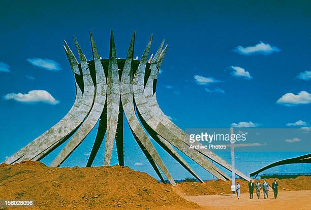 The concrete framework for the Cathedral of Brasilia Brazil designed by Brazilian architect Oscar Niemeyer circa 1960 A hyperboloid structure it was...