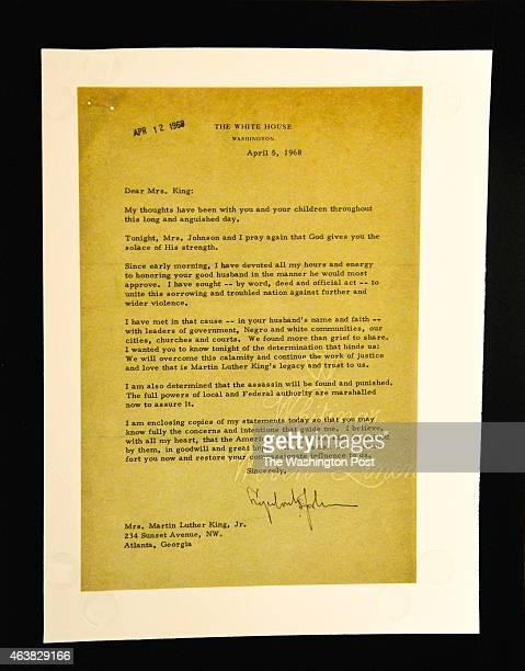 The condolence letter sent by President Lyndon B Johnson to Coretta Scott King the day after Martin Luther King Jr's assassination at Quinn's Auction...