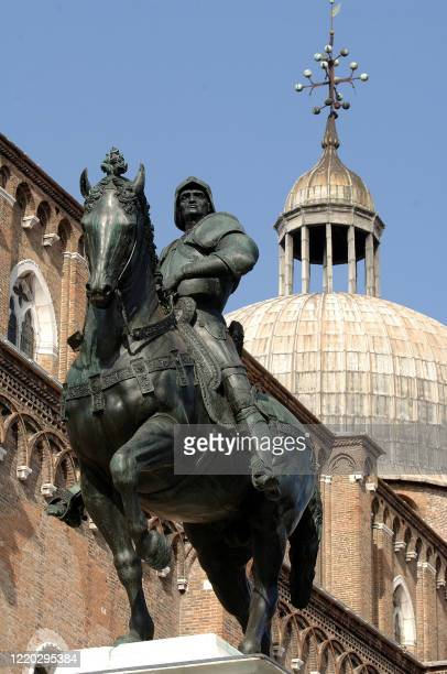 The Condottiero equestrian statue of Bartolomeo Colleoni unveiled 23 June 2006 after three years of restoration thanks to World Monuments Fund stands...