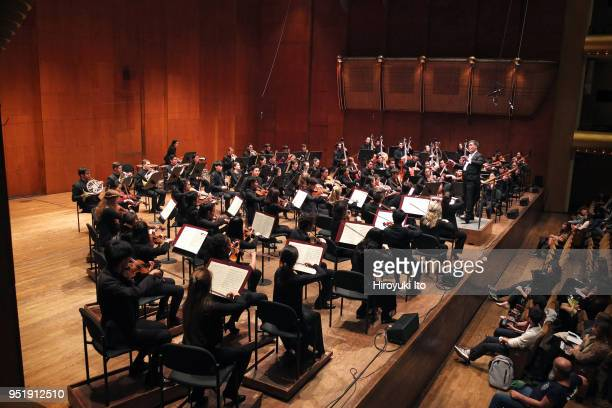 The conductor Alan Gilbert leading the Juilliard Orchestra in Brahms's 'Symphony No 1' at David Geffen Hall on Monday night April 16 2018