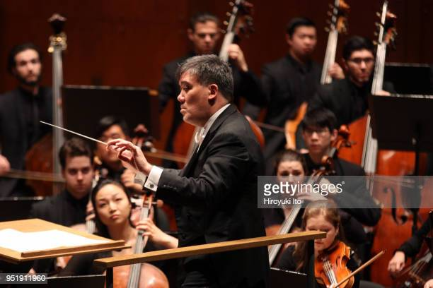 """The conductor Alan Gilbert leading the Juilliard Orchestra in Samuel Barber's """"Essay No 1 for Orchestra"""" at David Geffen Hall on Monday night, April..."""