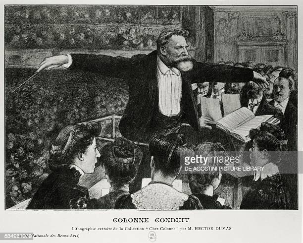 The conductor Edouard Colonne conducting an orchestra illustration by Ector Dumas 20th century Paris Bibliothèque Nationale De France