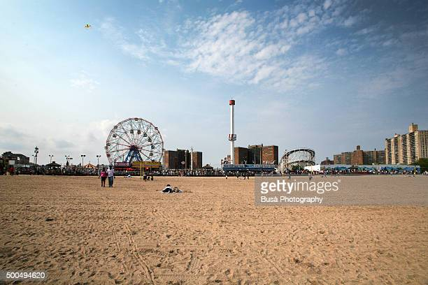 The Coney Island amusement park seen from the beach