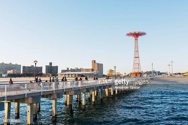 The Coney Island pier and parachute jump, Brighton Beach, Brooklyn, New York City, NY, USA