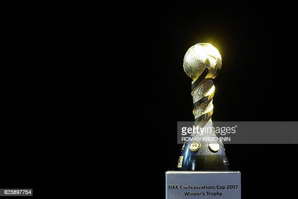 The Confederations Cup trophy is seen during the draw for the 2017 FIFA Confederations Cup at the tennis academy center in Kazan on November 26 2016...