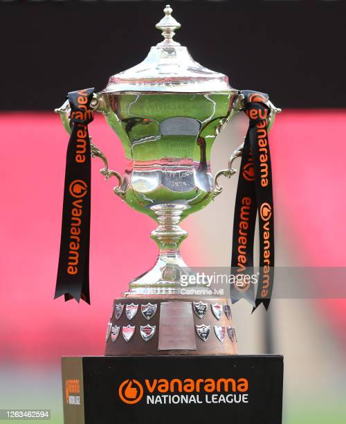 The Conference League Cup Trophy on the plinth after the Vanarama National League Play Off Final match between Harrogate Town and Notts County at...