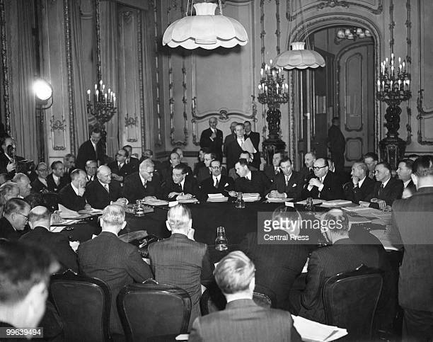 The conference of the Consultative Council of the Brussels Treaty Powers meets in Lancaster House London 14th March 1949 The Foreign Ministers of...