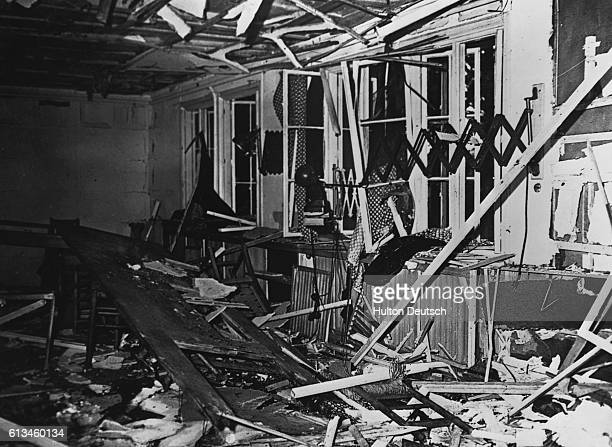 The conference room at Hitler's headquarters lies in ruins after a bomb plot against his life