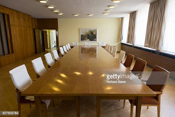 The conference room where the heads of the GDR secret police met with district administrators, an exhibit in 'Haus 1' the ministerial headquarters of...