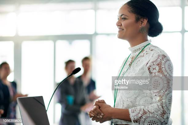 the confidence to facilitate a successful conference - award stock pictures, royalty-free photos & images