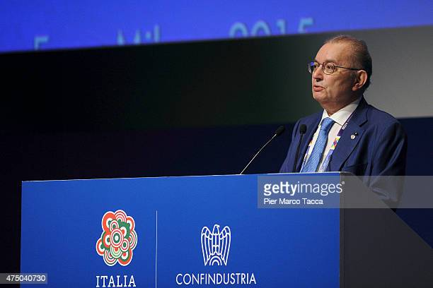The Confindustria President Giorgio Squinzi during his speech at General Assembly of Confindustria in Expo 2015 at Fiera Milano Rho on May 28, 2015...