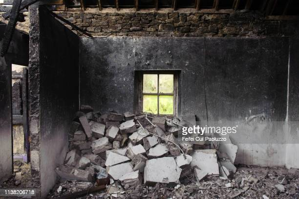the conflagration, house after fire at ballycastle, county mayo, ireland - ruined stock pictures, royalty-free photos & images