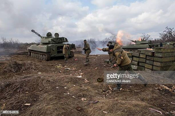 The conflict becomes intensified in the east of Ukraine between pro Russians and Ukrainian army Near the airport five tanks equipped with 122 mm...