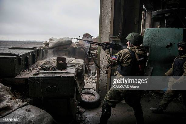 The conflict becomes intensified in the east of Ukraine between pro Russians and Ukrainian army the militiamen of Vostok battalion in the ruins of...