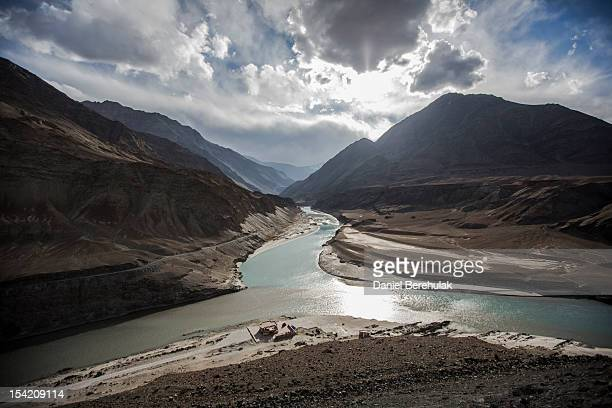 The confluence of the Indus river and the Zanskar river at Sangam on October 4 2012 near to Leh in Ladakh India Ladakh nestled between the Kunlun...