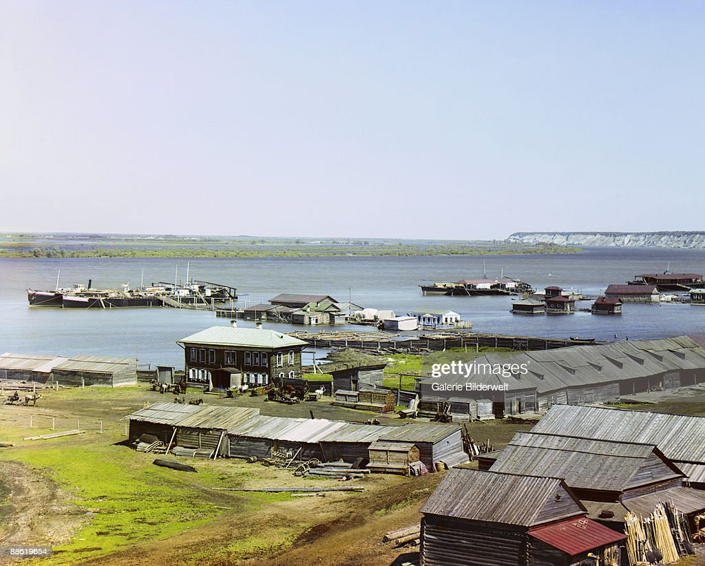 The confluence of the Irtysh and Tobol rivers at Tobolsk, Russian Siberia, 1912.