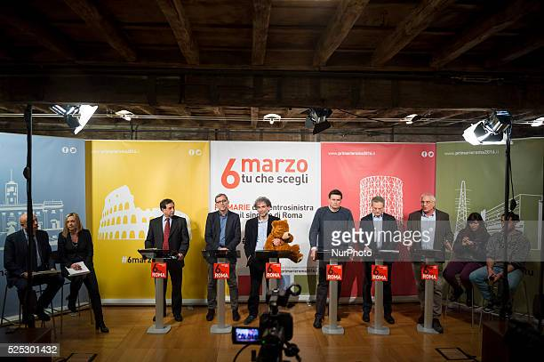 The confrontation between the six candidates in the primaries of the Democratic Party for mayor of Rome, Italy on March 3, 2016. From left Domenico...