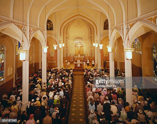 The congregation at Annunciation Church during services.