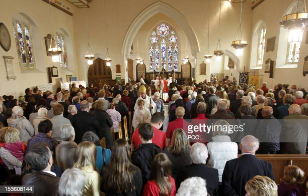 The congregation gathers for a church service and prayers for April Jones presided over by the Reverand Kathleen Rogers and Bishop of Bangor Andrew...