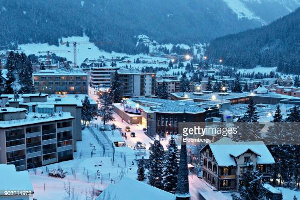 The Congress Center venue for the World Economic Forum center stands on the Promenade at dusk in Davos Switzerland on Saturday Jan 14 2017 President...