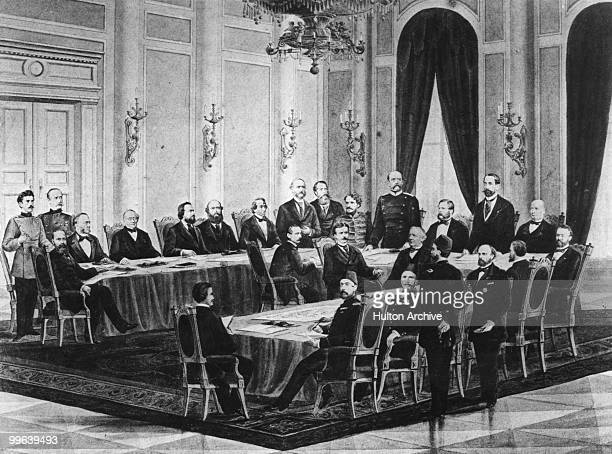 The Congress of Berlin 1878 Present are Herbert von Bismarck Pyotr Andreyevich Shuvalov Dr Busch Baron d'Oubril Alexander Gorchakov Odo Russell Mouy...